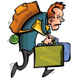 Cartoon man is unhappy with travelling Royalty Free Stock Photo