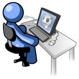 Cartoon man using computer. Graphic of blue man cartoon on computer Royalty Free Stock Photos