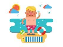 Cartoon man on vacation Royalty Free Stock Image