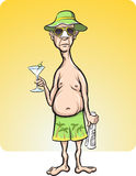 Cartoon man on vacation. Vector illustration of cartoon man on vacation royalty free illustration