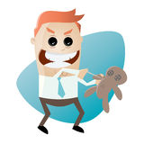 Cartoon man with voodoo doll Stock Photography