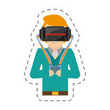 cartoon man with vr goggles control Royalty Free Stock Photos