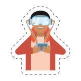 cartoon man with vr goggles control Stock Photos
