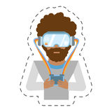 cartoon man with vr goggles control Royalty Free Stock Image