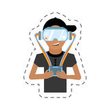 cartoon man with vr goggles control Royalty Free Stock Photo