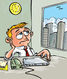 Cartoon of a man waiting for home Stock Images