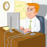 Cartoon of a man waiting for home time Stock Photos