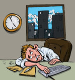 Cartoon of a man waiting for home time Stock Images