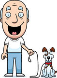 Cartoon Man Walking Dog Stock Image
