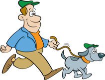 Cartoon man walking a dog. Royalty Free Stock Photos