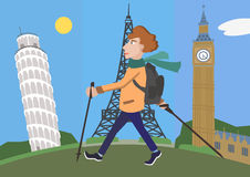 Cartoon man with walking poles against europe attractions Royalty Free Stock Images