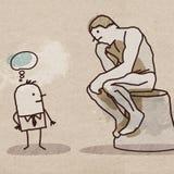 Cartoon Man Watching the Rodin`s Thinker Royalty Free Stock Photo