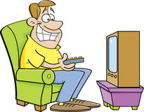 Cartoon man watching television. Royalty Free Stock Photos