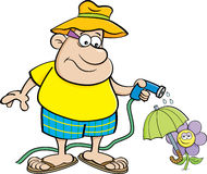 Cartoon Man Watering a Flower with a Garden Hose. Stock Image