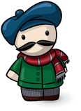 Cartoon man wearing beret Royalty Free Stock Photos