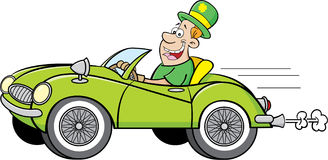 Cartoon man wearing a derby and driving a car. Stock Image