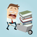 Cartoon man with wheelbarrow of files Stock Images