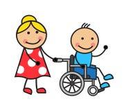 Cartoon man on a wheelchair. Cartoon man in a wheelchair and a woman wheelchair wheels Stock Image