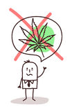 Cartoon man who wants to stop smoking cannabis Royalty Free Stock Photography