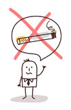 Cartoon man who wants to stop smoking Royalty Free Stock Photo