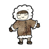 Cartoon man in winter fur coat Royalty Free Stock Photo