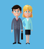 Cartoon man and woman business work cooperation Stock Photography