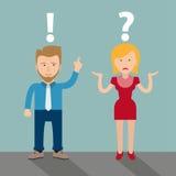 Cartoon Man Woman Communication Problem Stock Photo