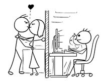 Cartoon of Man and Woman Couple in love Kissing at Office, Job,W. Cartoon vector doodle stickman man and woman couple in love kissing at office, job, work hidden Royalty Free Stock Images