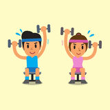 Cartoon man and woman doing alternate seated dumbbell press exercise Stock Photography