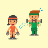 Cartoon man and woman doing dumbbell curl exercise step training Stock Image