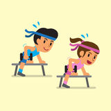 Cartoon man and woman doing dumbbell row exercise Stock Image