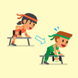 Cartoon man and woman doing dumbbell row exercise step training Royalty Free Stock Photography