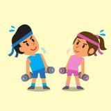 Cartoon man and woman doing dumbbells exercise Stock Photos