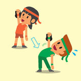 Cartoon a man and a woman doing kettlebell windmill exercise step training Royalty Free Stock Photos