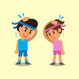 Cartoon man and woman doing neck side bend stretch exercise. For design Stock Photos
