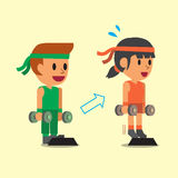 Cartoon man and woman doing standing dumbbell calf raise exercise step training Stock Photo