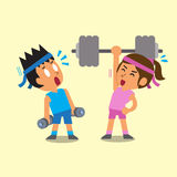 Cartoon man and woman doing weight training Royalty Free Stock Images