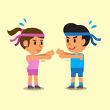 Cartoon a man and a woman doing wrist extension stretch exercise Royalty Free Stock Photos