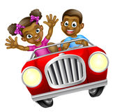 Cartoon Man and Woman Driving Car Royalty Free Stock Photography