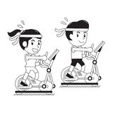 Cartoon a man and a woman exercising on elliptical machines. For design stock illustration