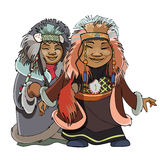 Cartoon man with a woman of the Far North in the national fur clothes Royalty Free Stock Photo