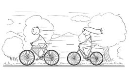 Cartoon of Man and Woman or Girl and Boy Riding on Bicycle. Cartoon stick drawing illustration of man and woman or girl and boy riding or cycling on bicycle trip vector illustration