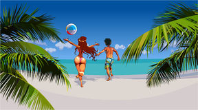 Cartoon man and woman happily running on tropical beach Royalty Free Stock Image