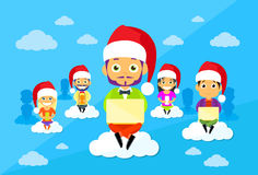 Cartoon Man and Woman New Year Christmas Santa Hat Stock Images
