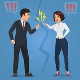 Cartoon Man and woman quarreling. Angry office people quarrel vector flat illustration. Cartoon Man and woman quarreling. Angry office people vector flat Stock Photos