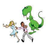 Cartoon of man and woman running from a T rex Stock Photography