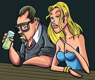 Cartoon man and woman sitting at a bar. Isolated Royalty Free Stock Photography