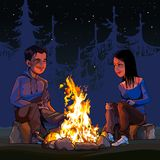 Cartoon man and woman sitting by a campfire at night in the woods. Cartoon man and woman sitting by campfire at night in the woods royalty free illustration