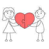 Cartoon man and woman stick figures joining puzzle of heart. Illustration of cartoon man and woman stick figures joining puzzle of heart Stock Image