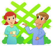 Cartoon of man and woman talking while enjoying a cup of drink w. Ith garden background. Vector illustration Royalty Free Stock Photography